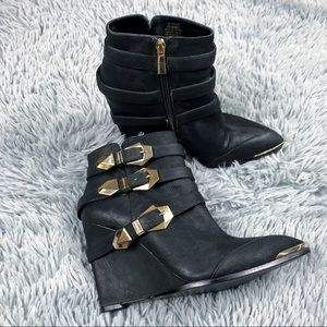 Vince Camuto Kannon Black Wedge Heel Booties 8.5